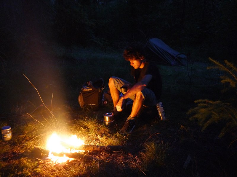 Relaxing by a fire at the border between Belgium and the Netherlands