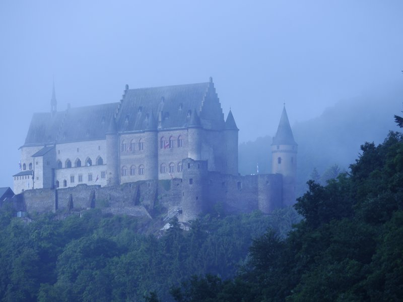 Vianden Castle overlooking the small town of Vianden, lying on the river Our.