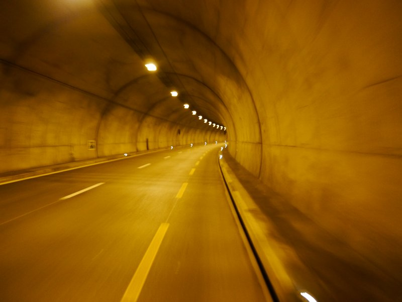 One of the tunnels through the mountains.