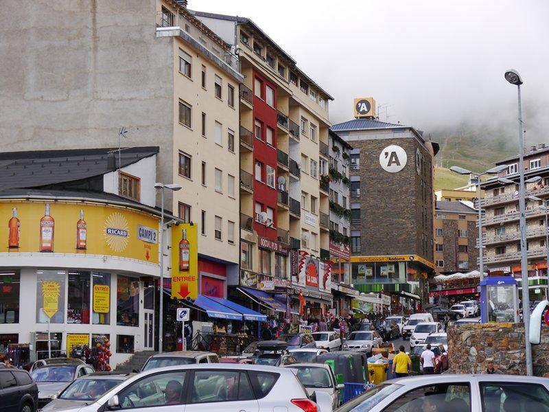 Pass de la Casa - a busy (tax free) shopping hub in Andorra.