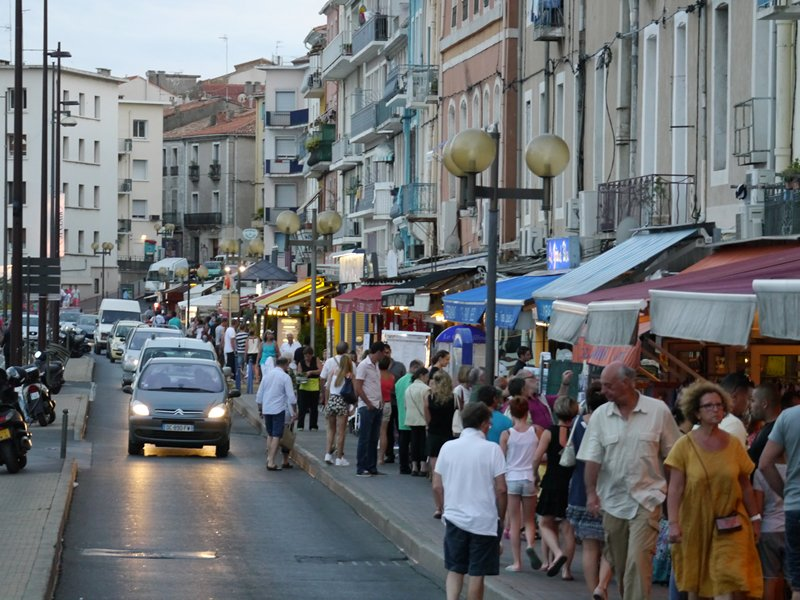 A busy tourist town in France