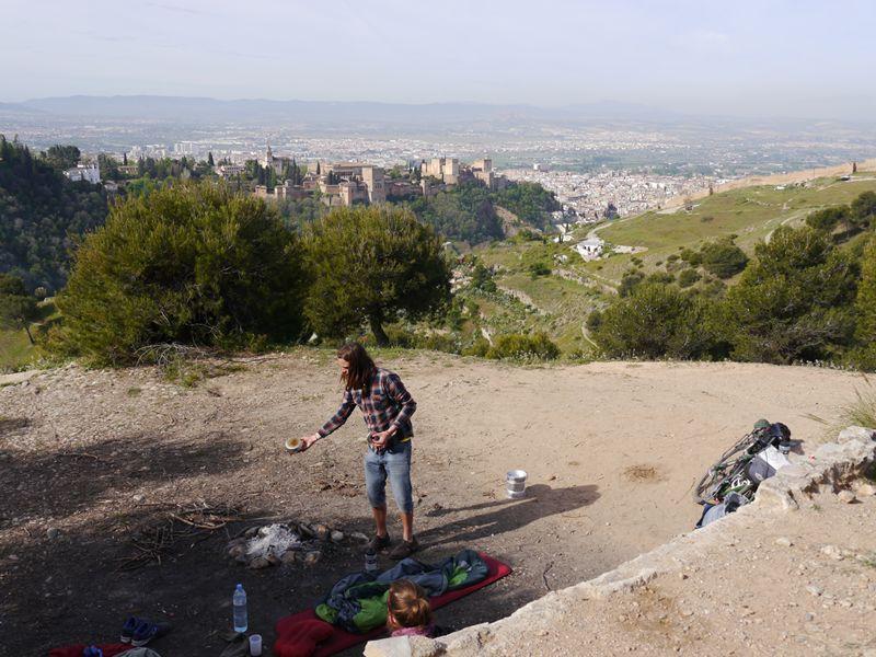 Camping above La Alhambra