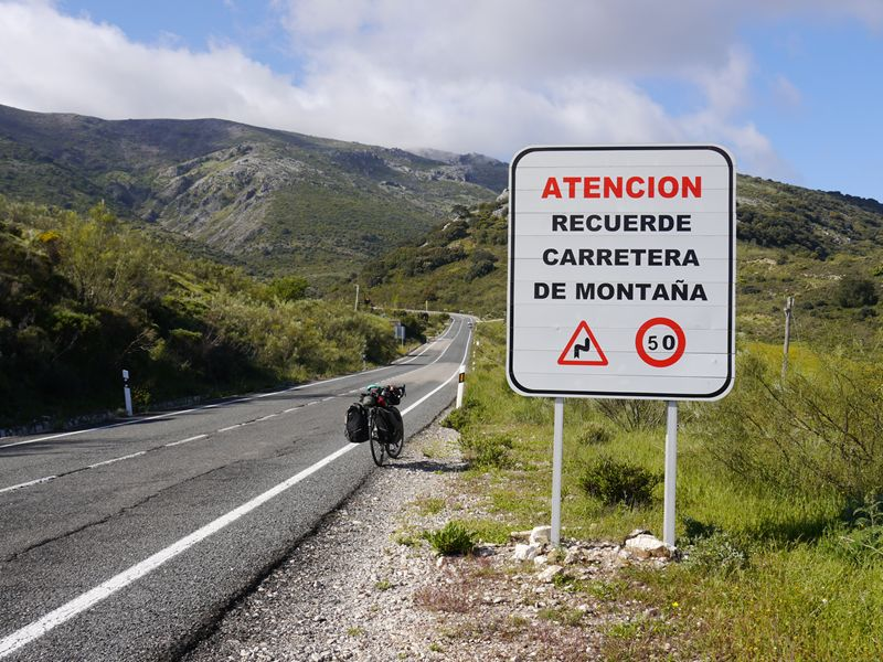 mountain road sign in Spain