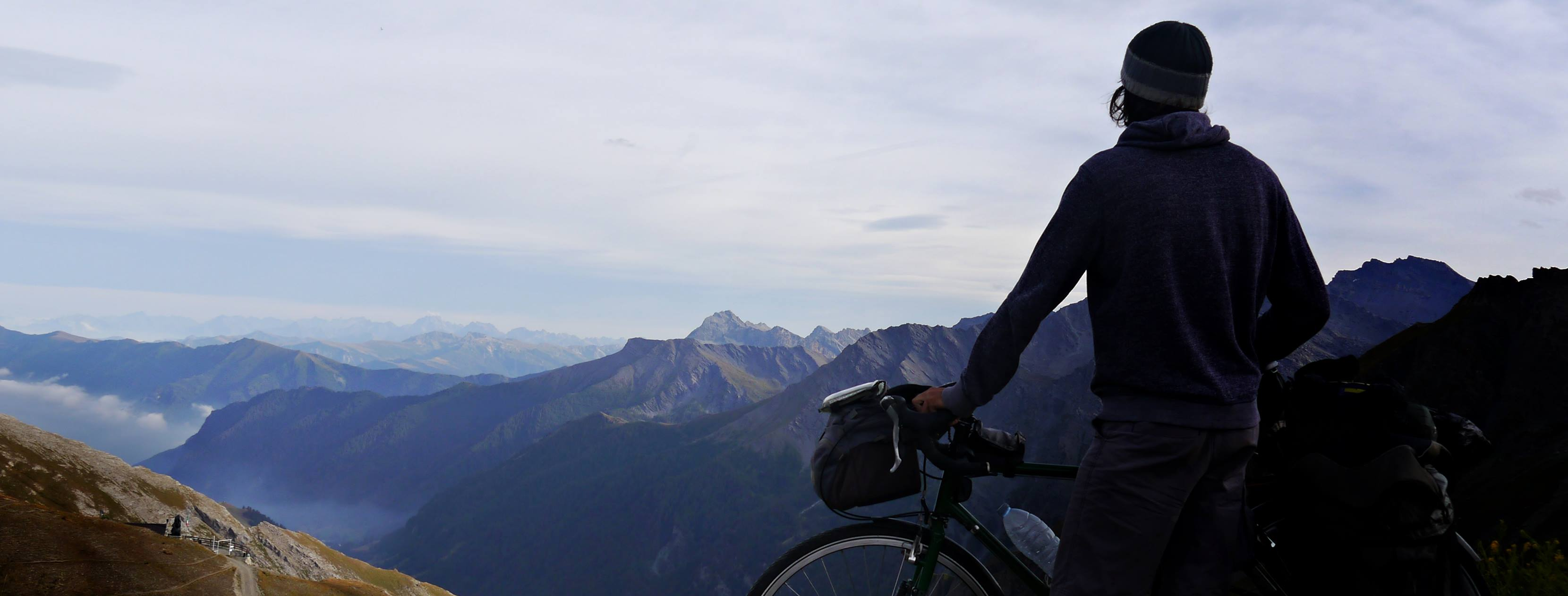 me and my bicycle climbing col agnel