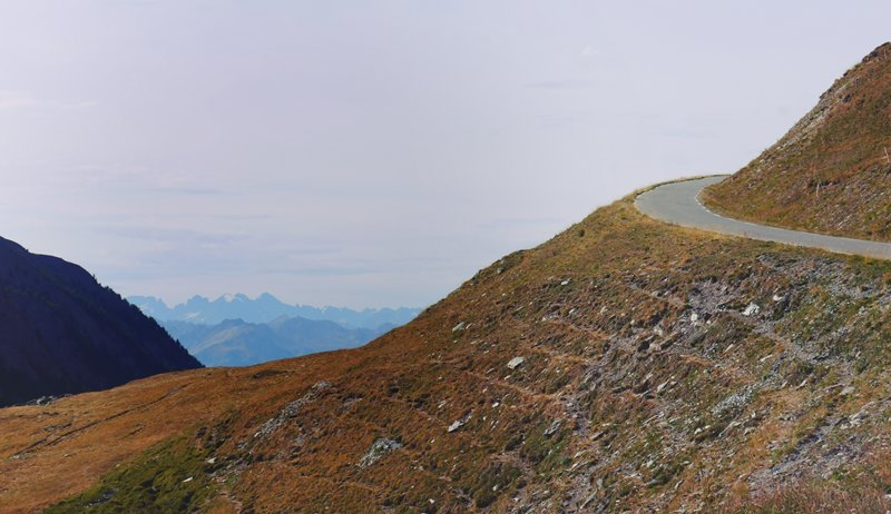 The mountains in the distance provide a nice view on the way up Col Agnel
