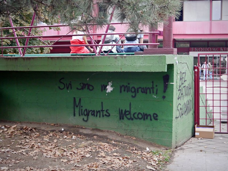 Migrants welcome graffiti