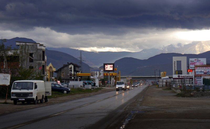The main road to Prizren in Kosovo