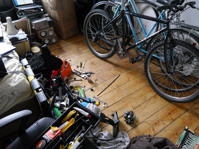 Repairing bicycles in my bedroom in Glasgow