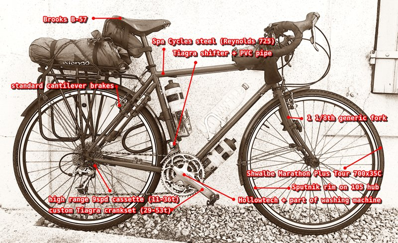 custom built touring bicycle with labels