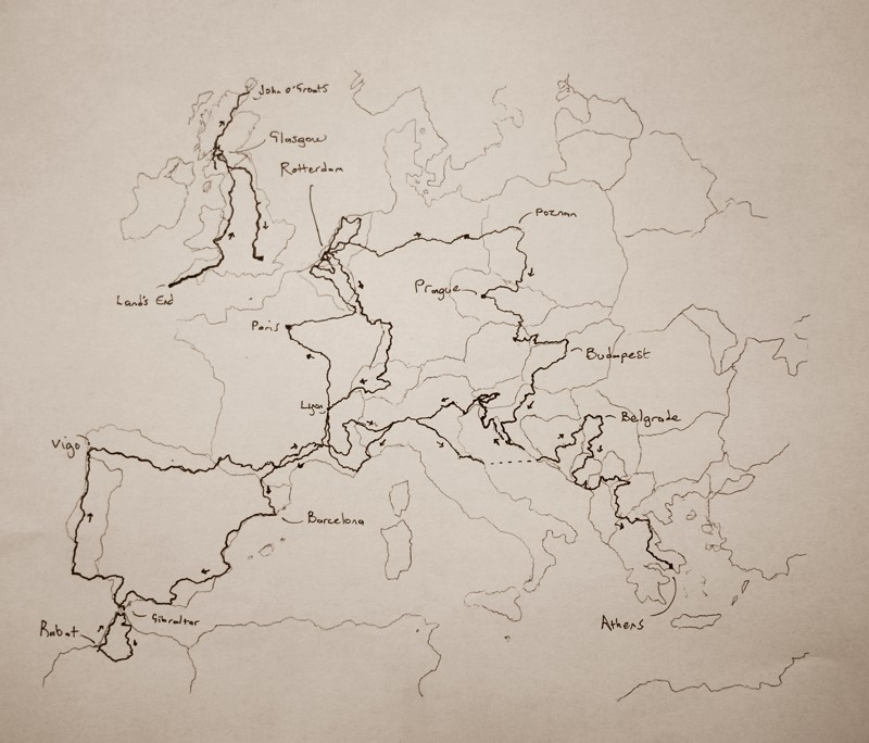 Map of what I've cycled so far.