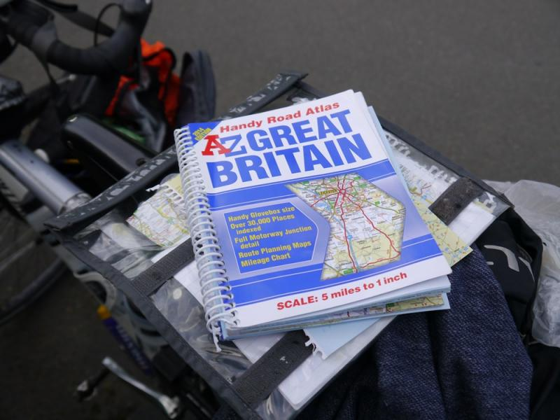 Road map of Great Britain on bike