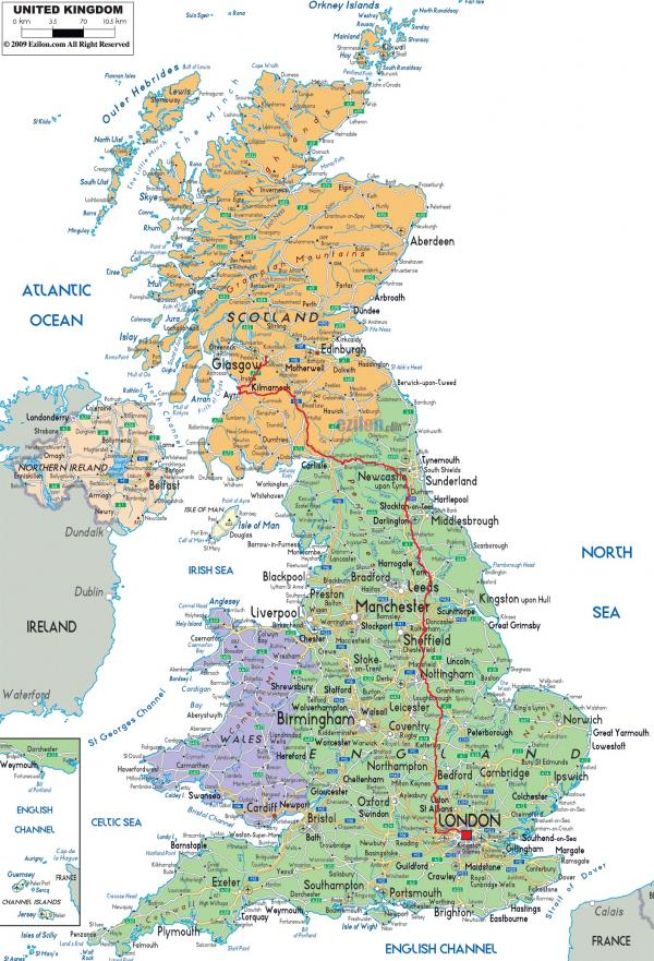 The route I took through the UK