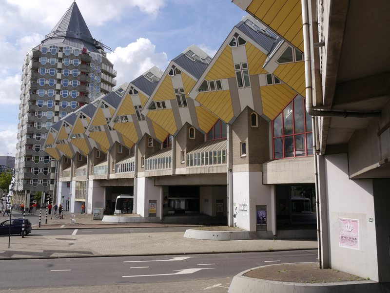 The cube houses demonstrating some of the weird architecture in Rotterdam. There's a hostel in here too.