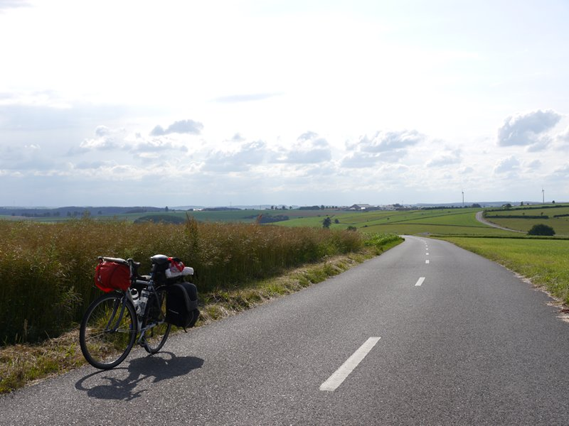 A quiet road through the farmland in Luxembourg.