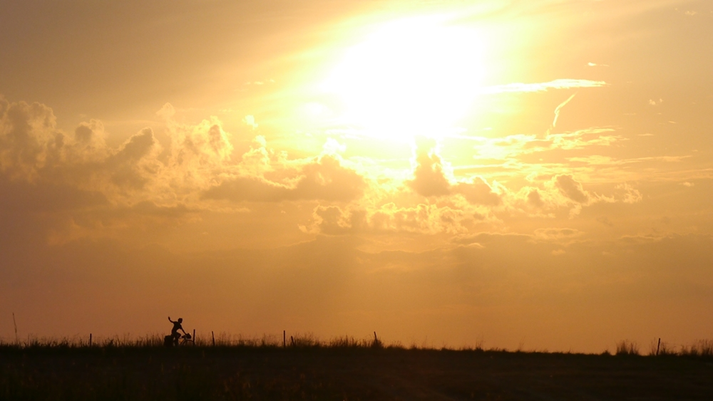 bicycle touring sunset