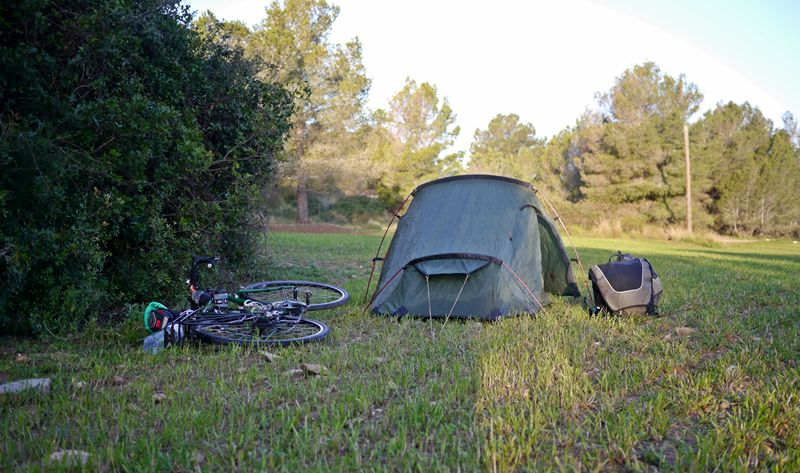 bicycle and tent