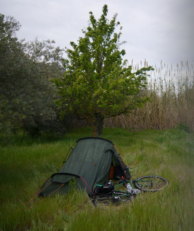 camping in farm cycling