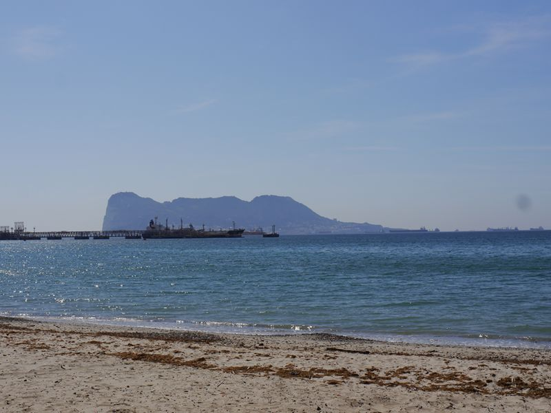 Gibraltar from a beach on the Bay of Gibraltar