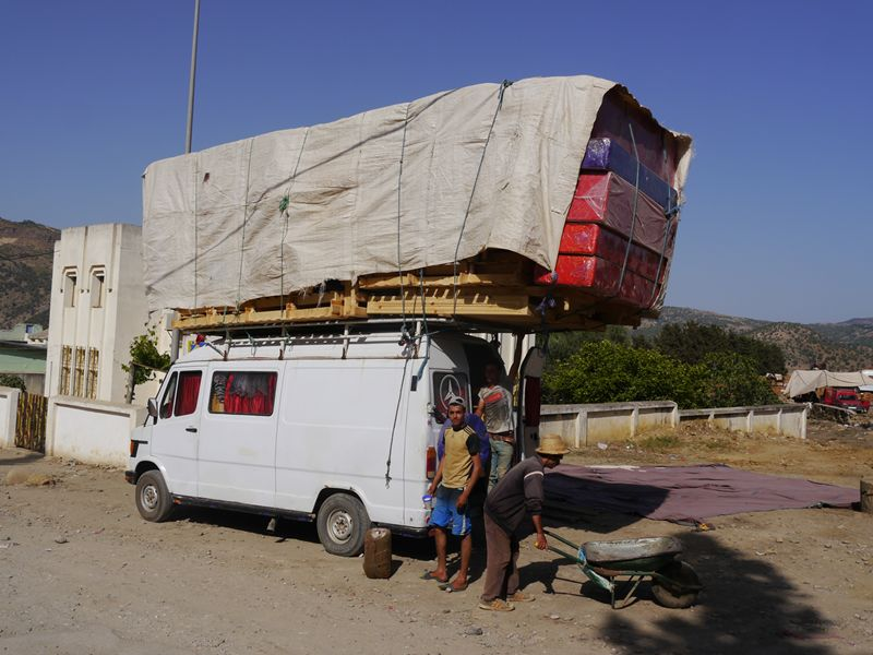 Van with luggage, Morocco