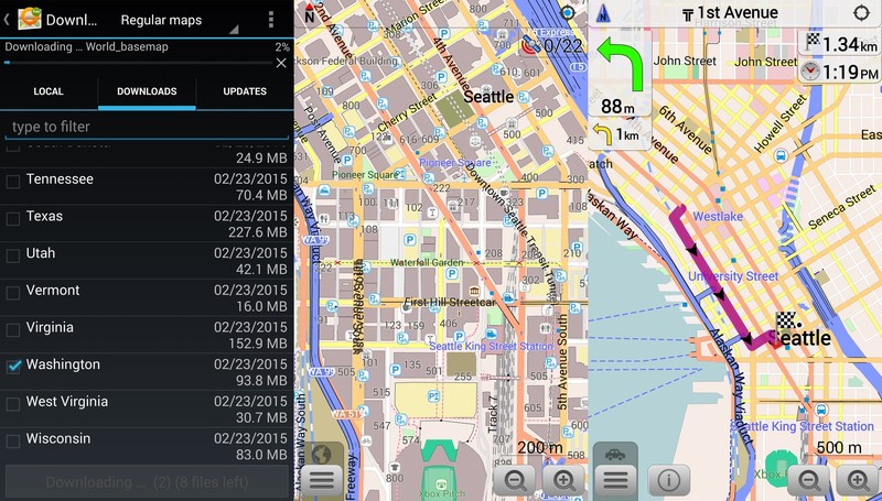 UI of OSMand mapping software for mobile