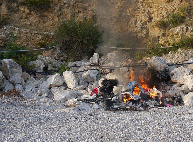 Plastic bonfire on a beach in Montenegro.