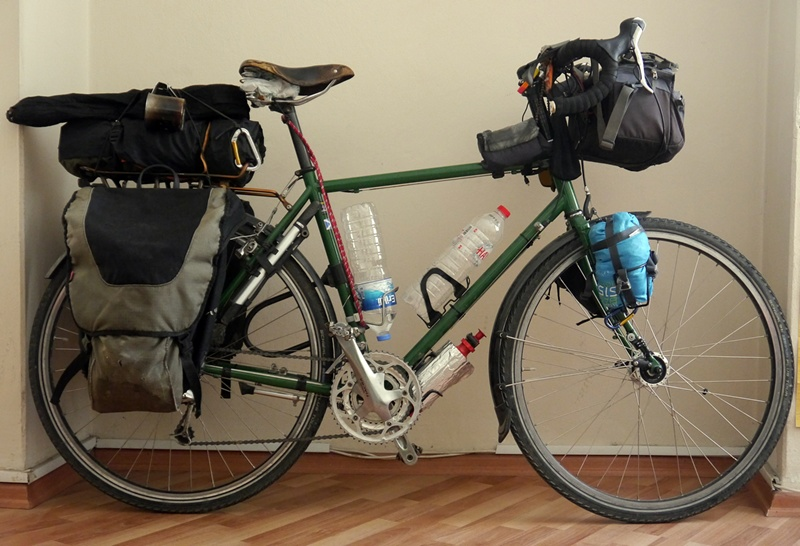 touring bicycle panniers bottles long-distance