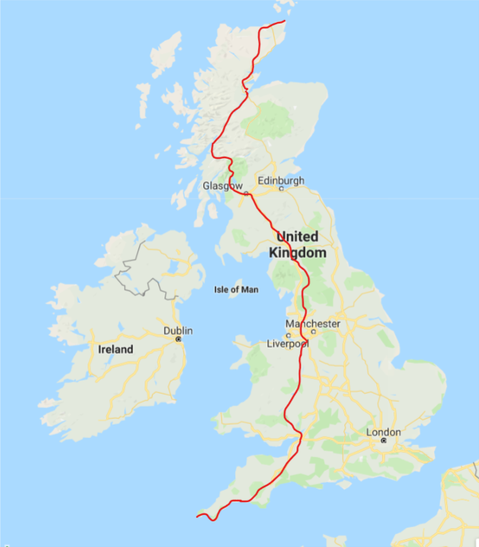 LEJOG cycle route map
