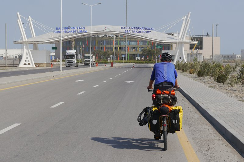 The port of Alat entrance with Ian cycling