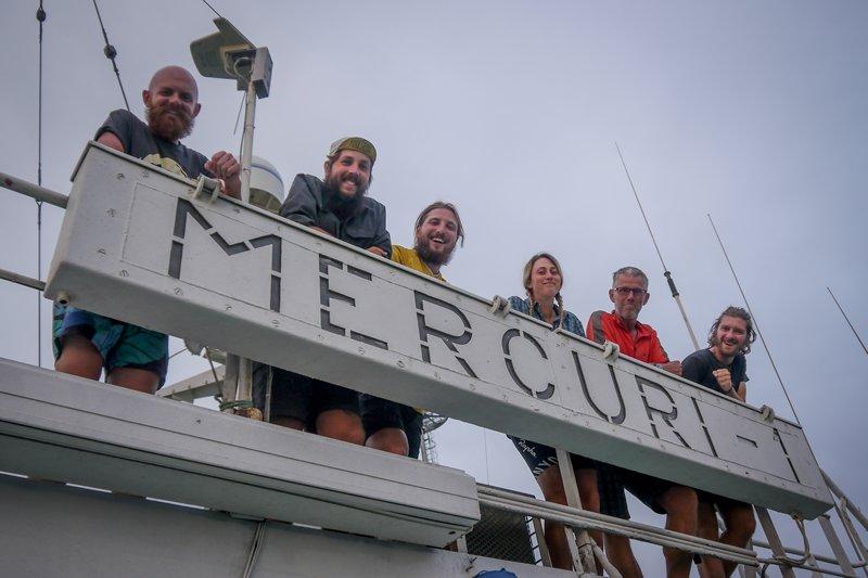 Cyclists on the Merkuri-1 cargo boat of the Capsian Sea Shipping Company