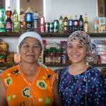 Two women in an indoor market in Karakalpakia