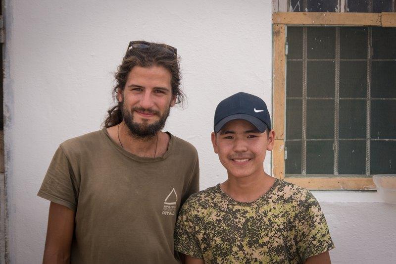 Me and Oslan. Like many young people here, he spoke very good English.