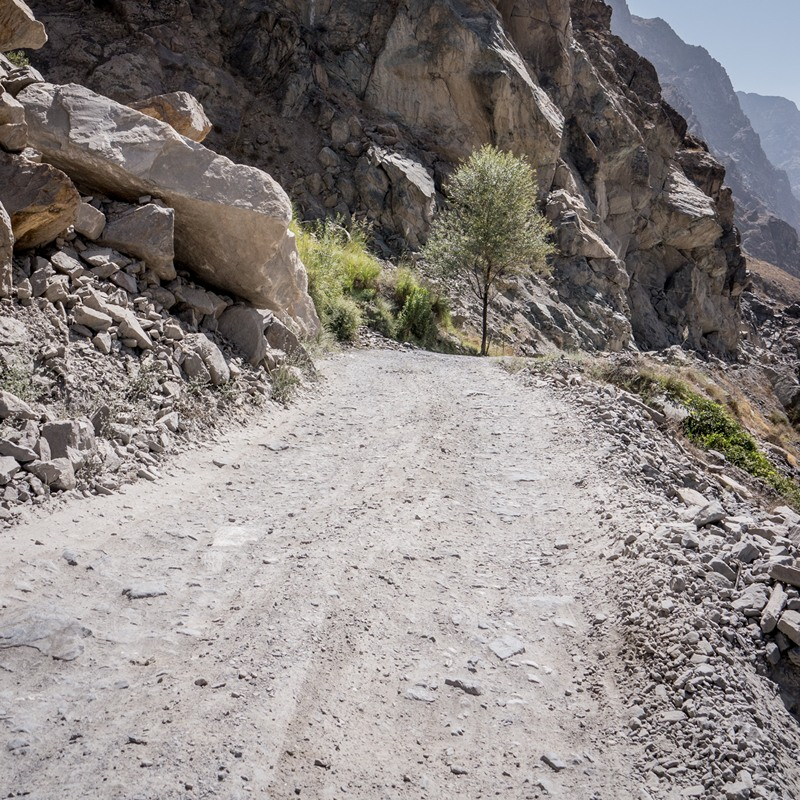 The road surface of the Pamir Highway (M41) in Tajikistan