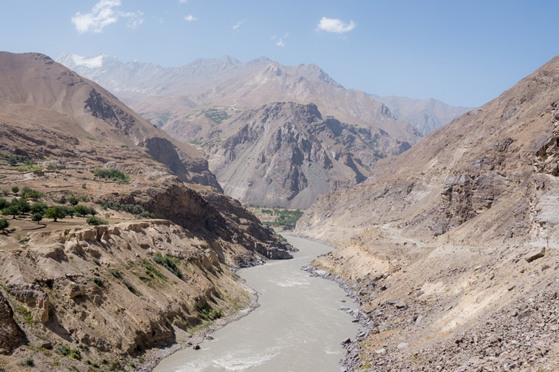 The river Panj surrounded by the mountains of Afghanistan and Tajikistan