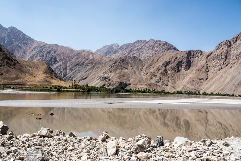 The river Panj between Afghanistan and Tajikistan at one of its widest points