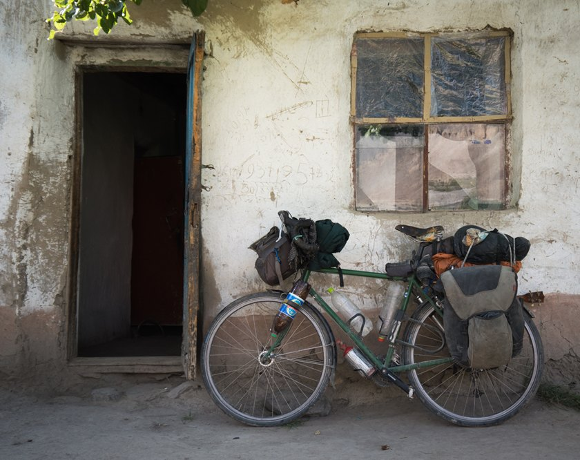 My touring bicycle outside a Pamiri home in the Bartang valley