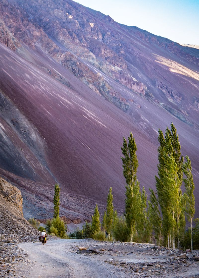 Photograph showing landslides and the road in the Bartang Valley