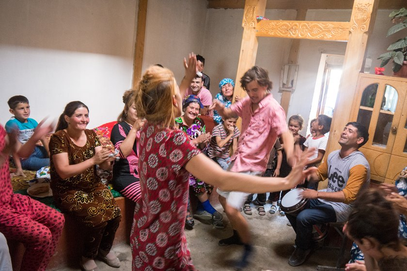 Dancing at a Tajik wedding