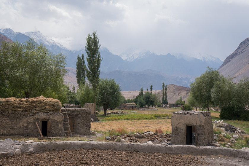 The village of Rukhch, Tajikistan, with mountains in the background.