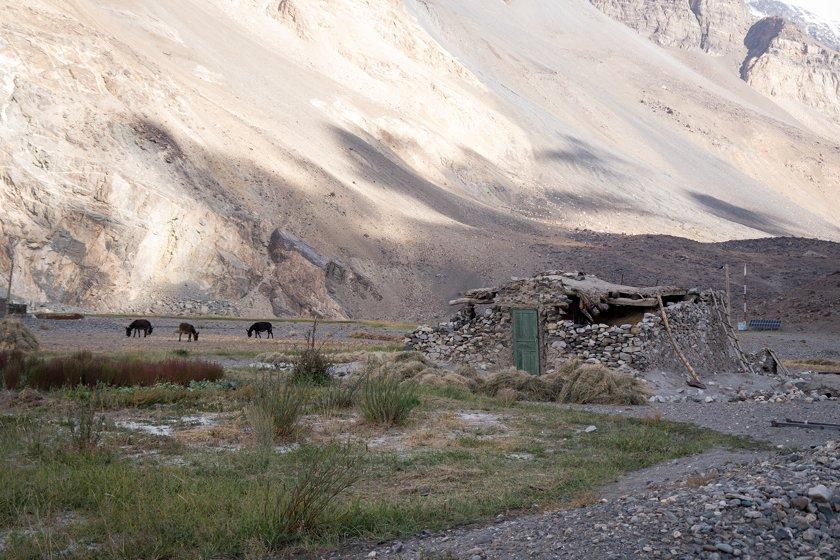 Destroyed house in Khudara earthquake