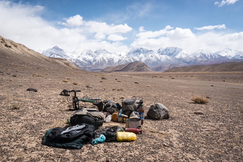 My stuff on the plateau, Pamir, Tajikistan