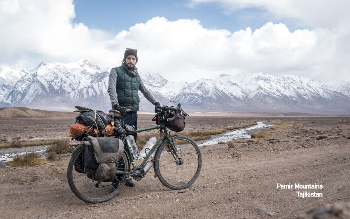 Bicycle and mountains, Pamir Mountains, Tajikistan