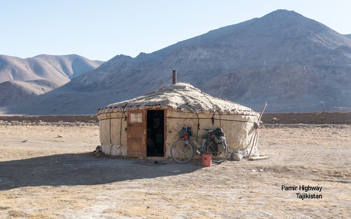 Bicycle and Yurt, Pamir Highway, China