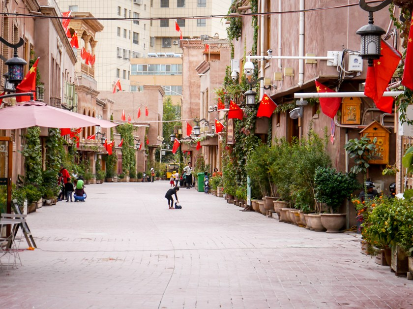 Chinese flags and cameras in Kashgar, Xinjiang