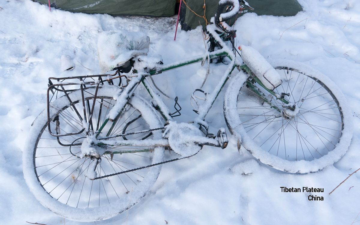 snow bicycle Tibetan Plateau, China