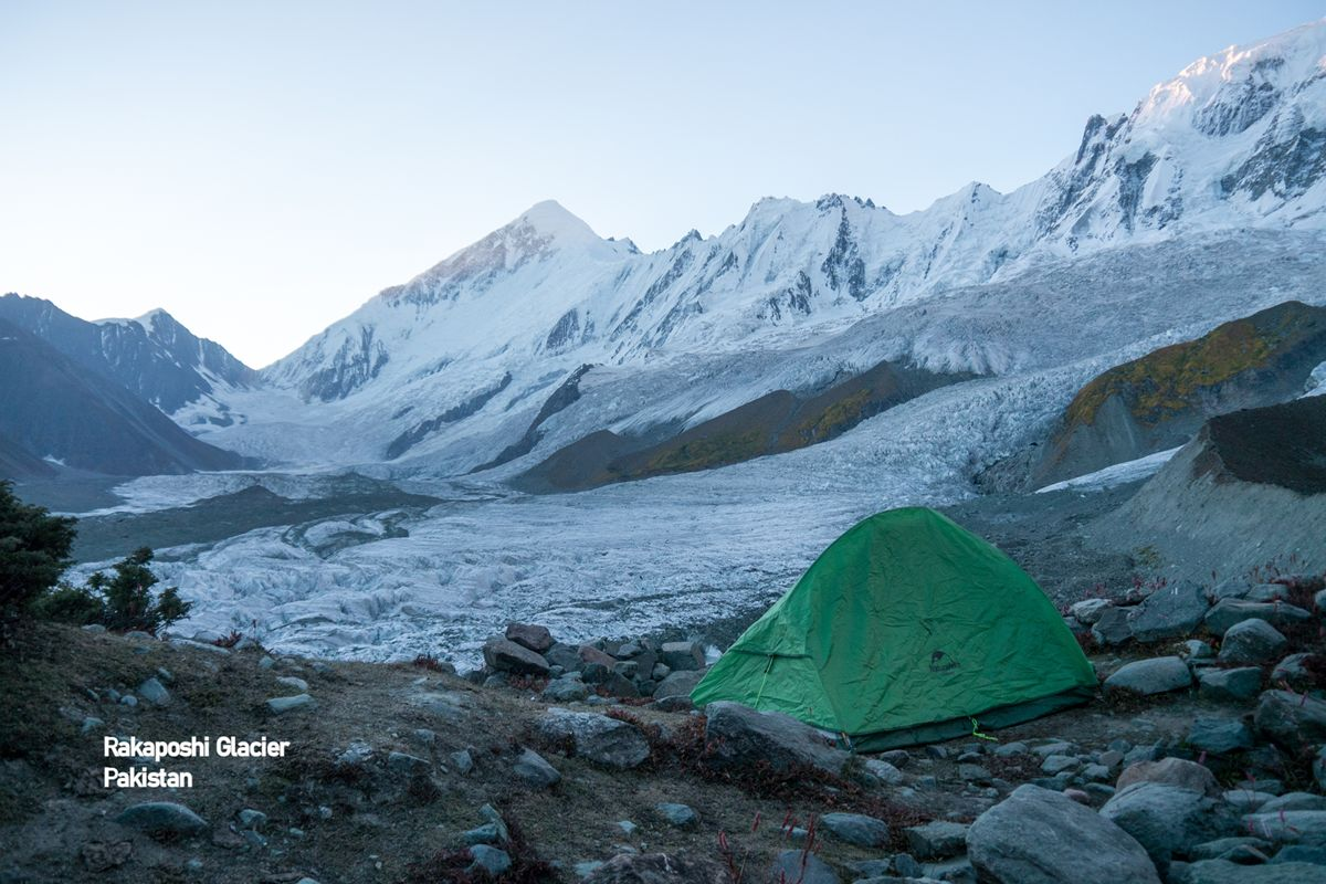 Rakaposhi mountain glacier and tent