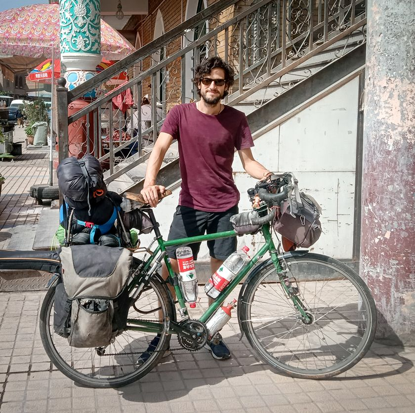 Jamie with his bicycle